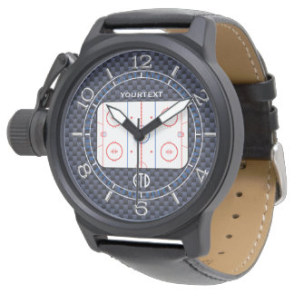 Personalized Hockey Rink Diagram Blue Carbon Style Wristwatch