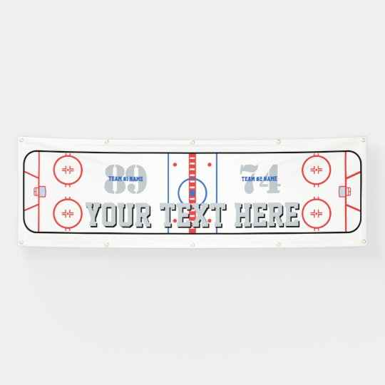 Personalized Hockey Rink Diagram Design On A Banner Zazzle