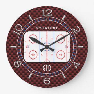 Personalized Hockey Rink Diagram Red Carbon Style Large Clock