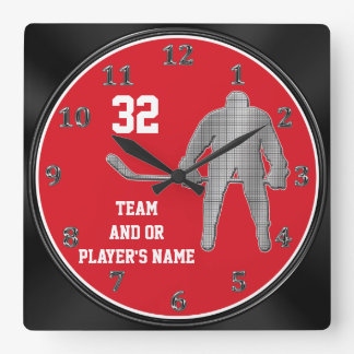 Personalized Hockey Team Gifts YOUR TEXT, COLORS Square Wall Clock