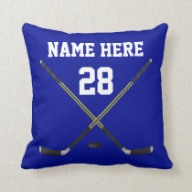 Personalized Hockey Throw Pillows YOUR COLOR, TEXT
