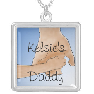 """Personalized  Holding Hands """"Daddy"""" Necklace"""