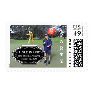 Personalized Hole In One Golf Photo and Stats Postage