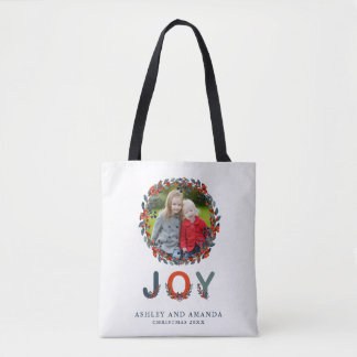 Personalized Holiday Berries Photo Christmas Tote Bag