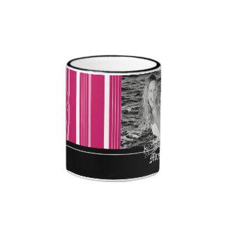 Personalized Holiday Candy Stripes Photo Mug