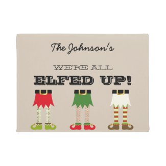 Personalized Funny Elves Elfed Up Chistmas Doormat
