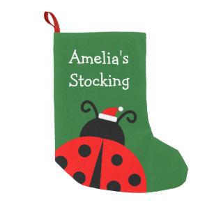 Personalized Holiday Cute Ladybird Santa Kids Small Christmas Stocking