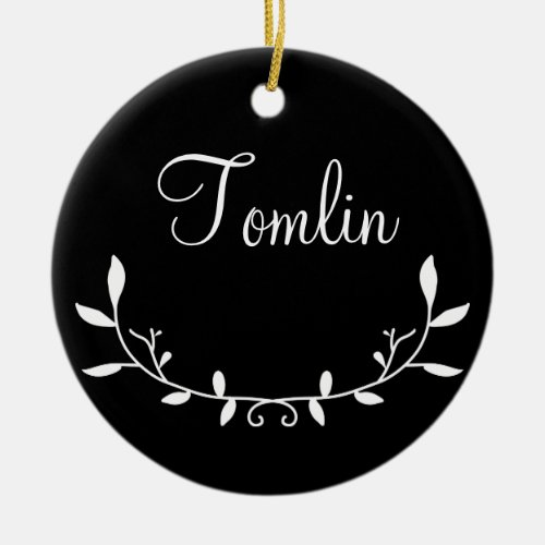 Personalized Holiday Ornament with Laurels