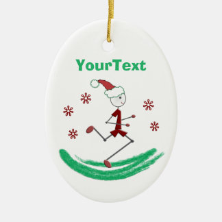 PERSONALIZED Holiday Stick Runner Guy Double-Sided Oval Ceramic Christmas Ornament