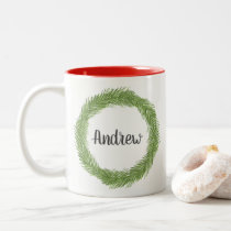 Personalized Holiday Wreath Two-Tone Coffee Mug