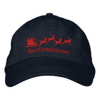 Personalized Holidays Santa Sleigh Ride Scene Embroidered Baseball Hat