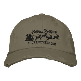 Personalized Holidays Santa Sleigh Ride Scene Embroidered Hat