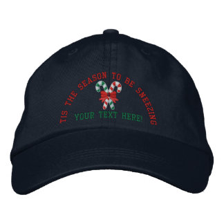Personalized Holidays Sneezing Candy Canes Embroidered Hat