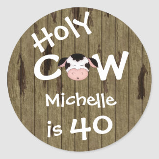 Personalized Holy Cow 40th Birthday Stickers