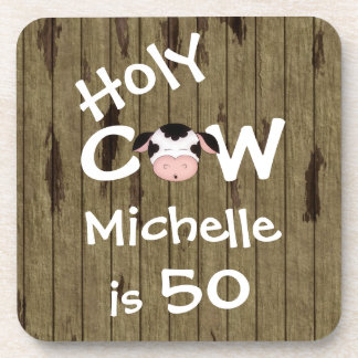 Personalized Holy Cow 50th Birthday Drink Coasters