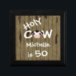 """Personalized Holy Cow 50th Birthday Jewelry Box<br><div class=""""desc"""">Personalized Humorous Holy Cow Someone is 50 Birthday Jewelry Gift Box with Faux Barn Wood Background.</div>"""