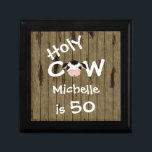 "Personalized Holy Cow 50th Birthday Jewelry Box<br><div class=""desc"">Personalized Humorous Holy Cow Someone is 50 Birthday Jewelry Gift Box with Faux Barn Wood Background.</div>"