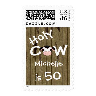 Personalized Holy Cow 50th Birthday Postage Stamps