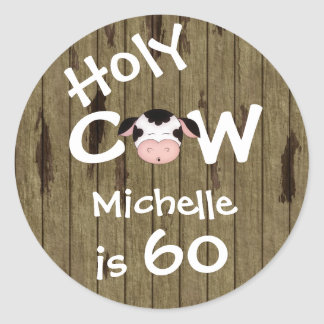Personalized Holy Cow 60th Birthday Stickers