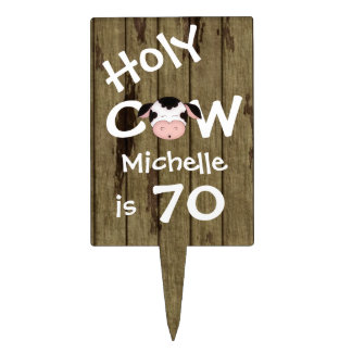 Personalized Holy Cow 70th Birthday Cake Topper