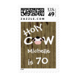Personalized Holy Cow 70th Birthday Postage Stamps