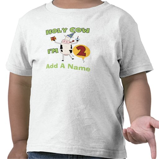 Personalized Holy Cow I'm 2 Birthday Tshirt