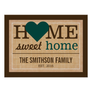 Personalized Home Sweet Home Family Welcome Sign Poster