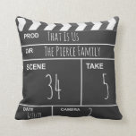"Personalized Home Theater Custom Movie Clapboard Throw Pillow<br><div class=""desc"">This fun movie clapperboard pillow is the perfect addition to any home theater! Personalize it by adding your own name and text to the Production Title,  Director,  scene number,  take number and date.</div>"