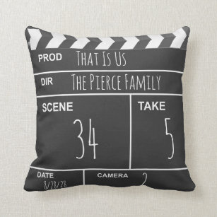 7e886d4265e6 Personalized Home Theater Custom Movie Clapboard Throw Pillow