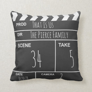 Personalized Home Theater Custom Movie Clapboard Throw Pillow