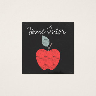 Personalized Home Tutor Teacher Apple Chalkboard Square Business Card