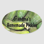 Personalized Homemade Pickle Jar Label Oval Sticker