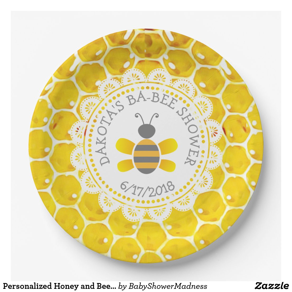 Personalized Honey and Bee Baby Shower Paper Plate