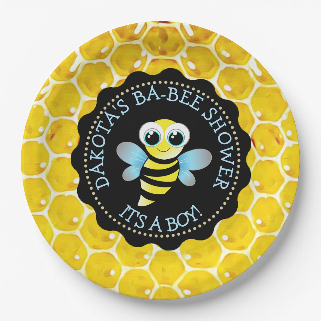 Personalized Honey Bee Baby Shower Paper Plates