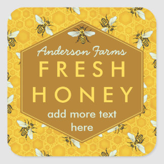 Personalized Honey Jar Label Bees and Honeycomb