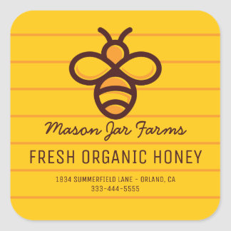 Personalized Honey Jar | Modern Honeycomb Bee Square Sticker
