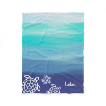Personalized Honu Sea Turtles Ocean Waters Fleece Blanket
