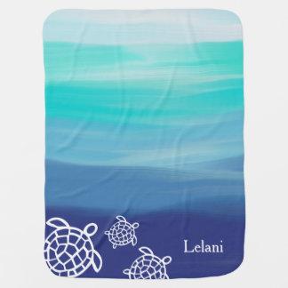 Personalized Honu Sea Turtles Ocean Waters Receiving Blanket