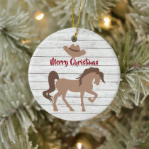 Personalized Horse and Cowboy Hat Merry Christmas Ceramic Ornament