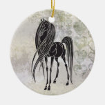 Personalized Horse and Grunge Hearts Ornament