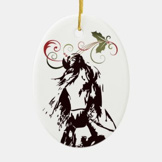 Personalized Horse and Holly Holiday Christmas Ceramic Ornament