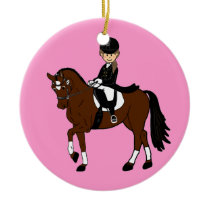 Personalized Horse and Rider Dressage Accessory Ceramic Ornament