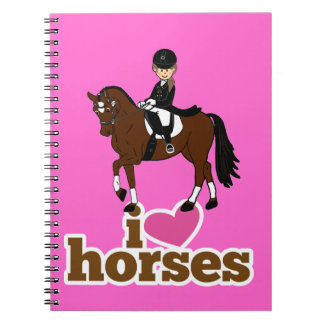 Personalized Horse and Rider Dressage Accessory Spiral Notebooks