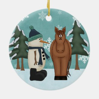 Personalized Horse and Snowman Ornament