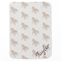 Personalized Horse Baby Blanket - cream/beige