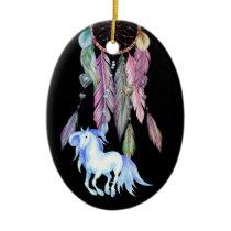 Personalized Horse, Dreamcatcher, Dreams & Wishes Ceramic Ornament