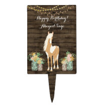 Personalized Horse, Flowers Rustic Wood Birthday Cake Topper