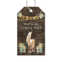 Personalized Horse, Flowers Rustic Wood Birthday Gift Tags
