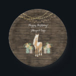 "Personalized Horse, Flowers Rustic Wood Birthday Paper Plate<br><div class=""desc"">This Happy Birthday! party plate design features a pretty palomino paint pony. She is standing among arrangements of pretty flowers in charming mason jars. There is a rustic faux barn wood background decorated with strings of delicate flowers. It can be personalized with a name and any occasion or text that...</div>"