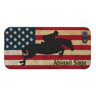 Personalized Horse Jumping Patriotic USA Flag Cover For iPhone SE/5/5s